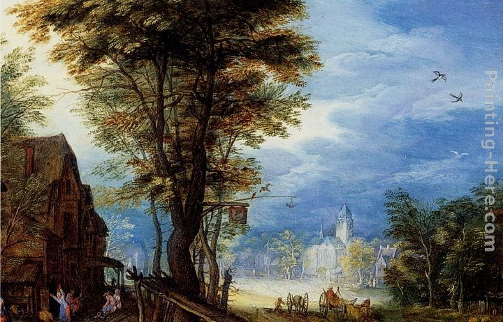 Jan the elder Brueghel A Village Street With The Holy Family Arriving At An Inn [detail 1]